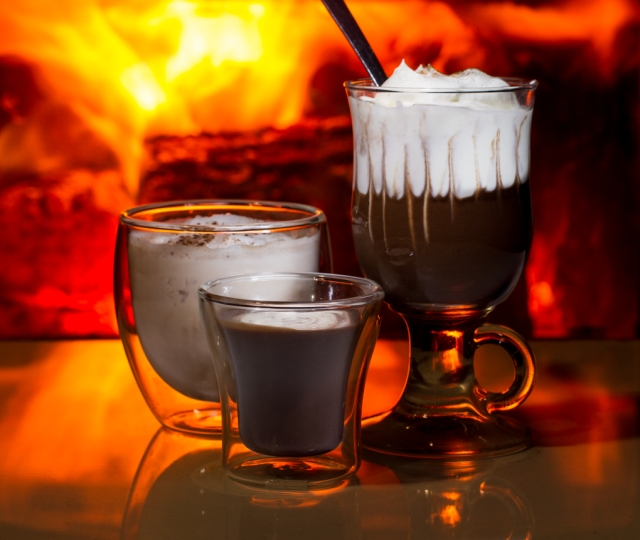 Three drinking chocolate serving options. From left to right: Frozen hot chocolate, North Canadian Drinking Chocolate and Decadent Hot Chocolate Whip