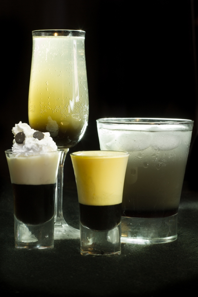 Drinks made with Black Liquorice Syrup. From left to right: