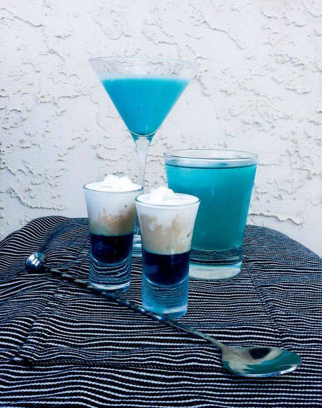 Drinks inspired by the mighty tick. From right to left: Big Blue Moon, Mighty Blue and Blue on Ice.