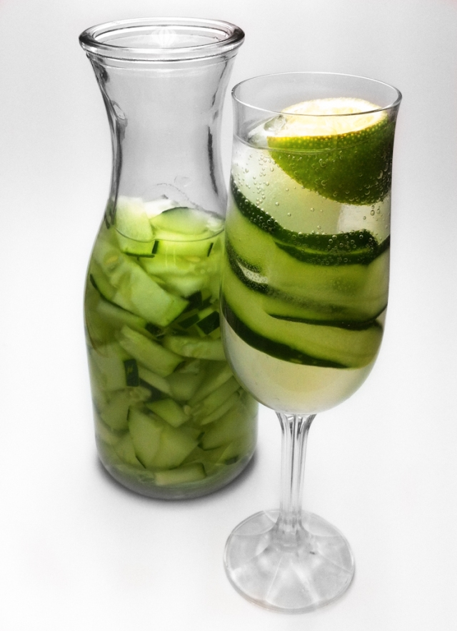 Cucumber drinks are great all year. Left to right: Cucumber infused soda water & Cucumber  Lime Fizz.