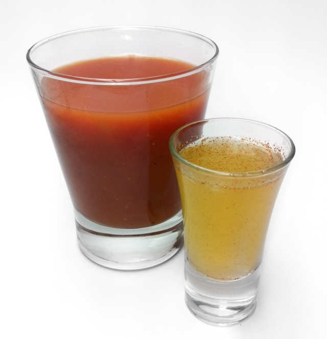 Sangrita - a spicy virgin accompaniment that often goes with tequila to cleans the palate.