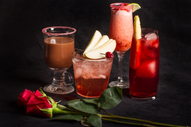 Four very different valentines cocktails to consider for your sweethearts. From left to right: Mexican Chocolate Mocktail, Sweet Apple, Brazilian Strawberry Limeade & Hibiscus