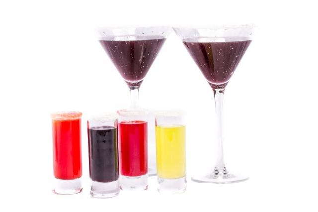 Sour Patch Kid inspired shooters and Mocktini. Sour Patch Virgin Shooters Front from left to right: Sunrise, Sour Grape, Sour Cherry, Sour Lime and at the back: Sour Patch Kid Mocktail.